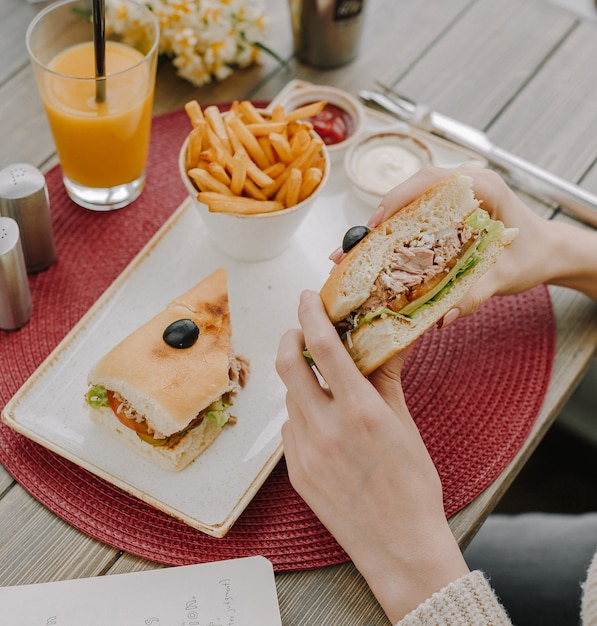Chicken sandwich with french fries top view Free Photo