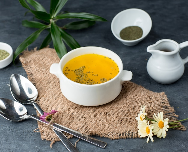 Chicken soup on the table Free Photo
