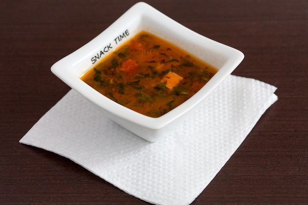 Chicken soup with vegetables Premium Photo