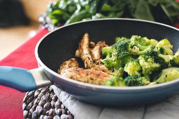 Chicken steak with broccoli in pan Free Photo