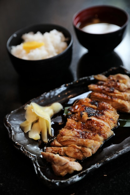 Chicken teriyoki with rice Premium Photo