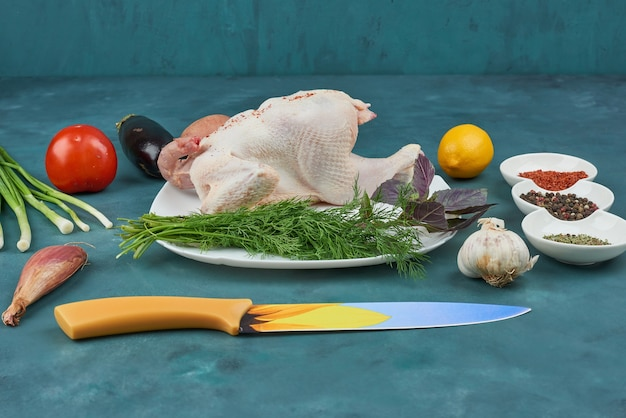 Pollo in un piatto bianco con erbe e spezie. Foto Gratuite