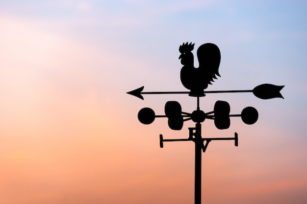 Chicken wind vane with compass and sky Premium Photo