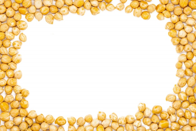 Chickpea with copy space for design, close up, macro, top view. Premium Photo