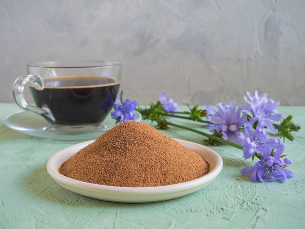 Chicory coffee. a substitute for traditional coffee, a herbal drink from the roots of chicory Premium Photo