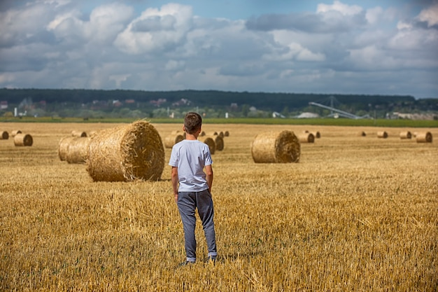 Child and bales of hay on the field. Premium Photo