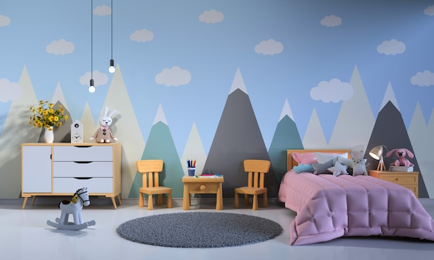 Child bedroom interior at night Premium Photo