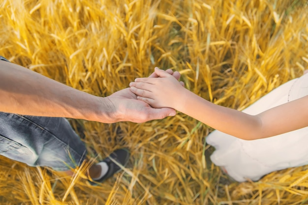 Child and father in a wheat field. Premium Photo