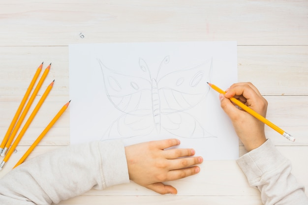 Child hand sketching butterfly with pencil on wooden background Free Photo