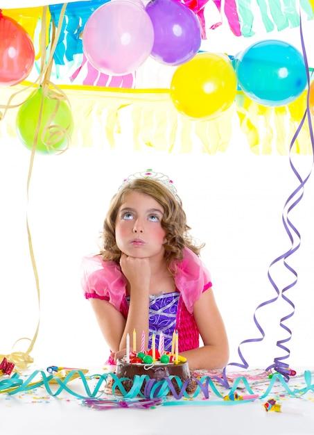 Child kid crown princess in birthday party Premium Photo