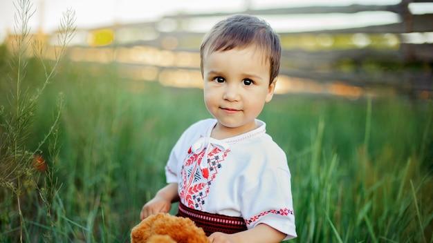 Детский козак в поле. день независимости украины. день флага. день конституции. мальчик в традиционной вышивке в поле Premium Фотографии