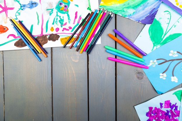 Child pictures, kid drawings, Premium Photo