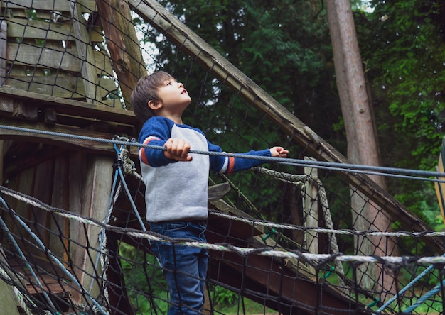 アドベンチャーパークで屋外で遊ぶ子供 Premium写真