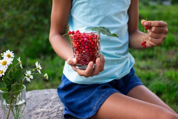 庭で屋外夏の赤スグリのガラスを持っている子供の手 Premium写真