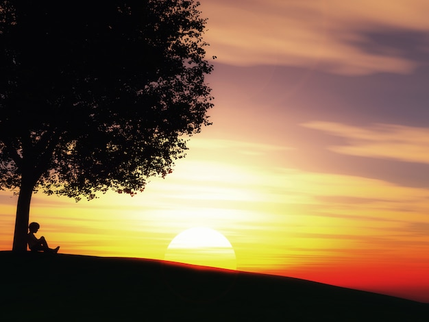 Child sat under a tree against a sunset landscape Free Photo