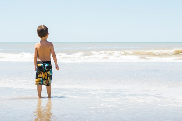 Child on seacoast in water Free Photo