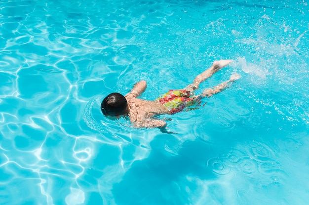 Child swimming in pool Free Photo