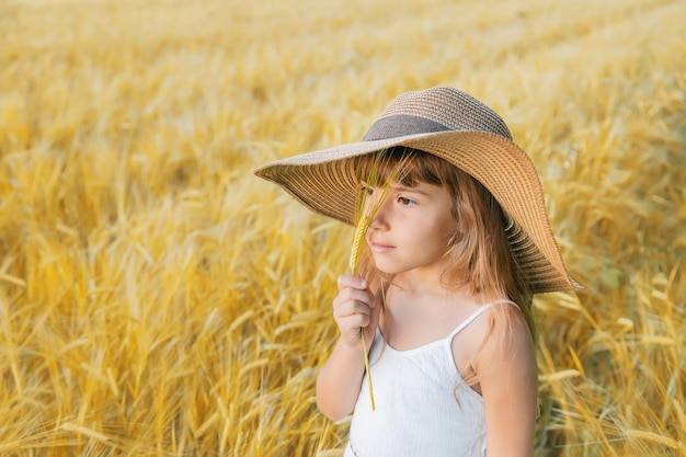 A child in a wheat field. Premium Photo