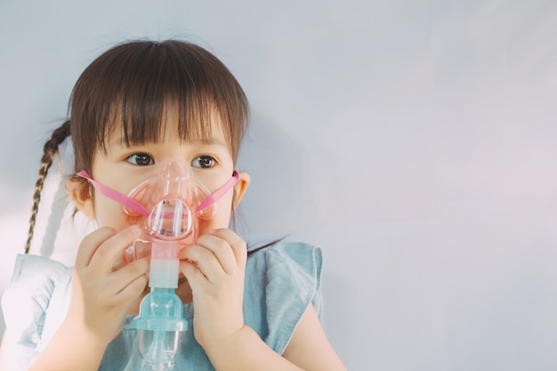 Child who got sick by a chest infection after a cold or the flu. Premium Photo