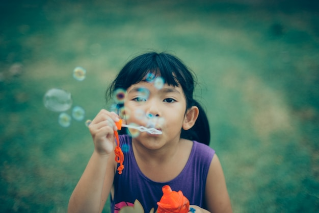 Childhood innocence happy posing soap Free Photo