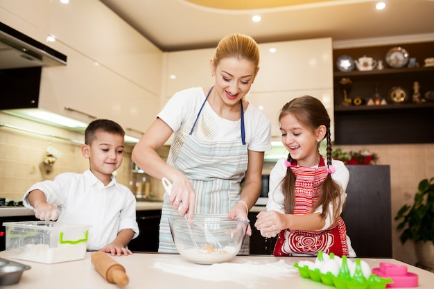 Children baking family mother child Free Photo