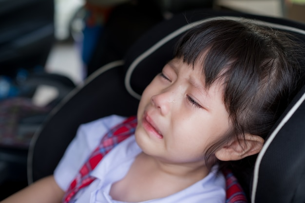 Children crying, little girl cry, feeling sad, young girl unhappy Premium Photo