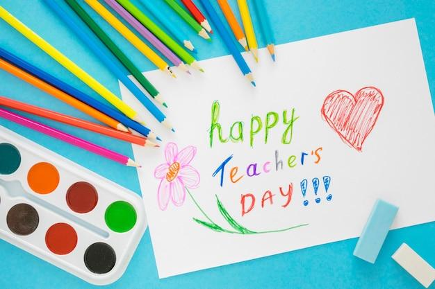 Детские рисунки с днем учителя Premium Фотографии