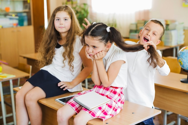 Children having fun in classroom Free Photo