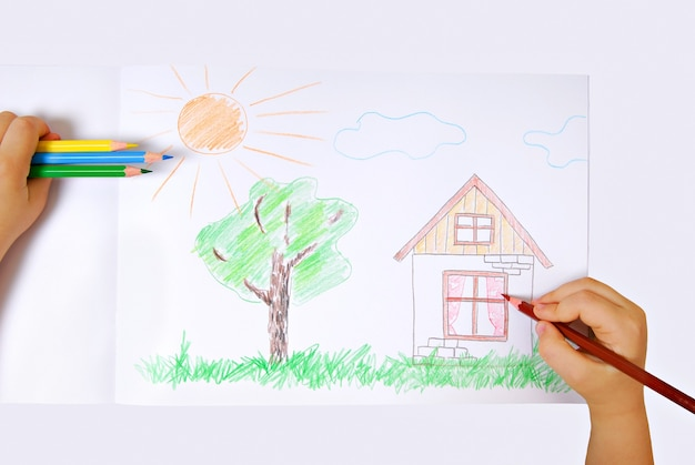Children's colored illustration of the happiness life Free Photo