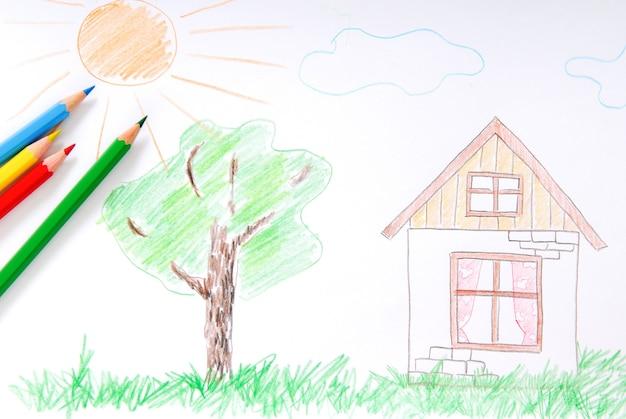 Children's colored sketch Free Photo