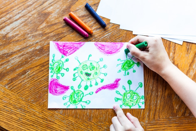 Children S Drawing Coronavirus Many Viruses Attack The Human Body Crayons Colored Pencils Children S Creativity Creating Crafts Home Decoration Time With Children Skill Development School Home Premium Photo