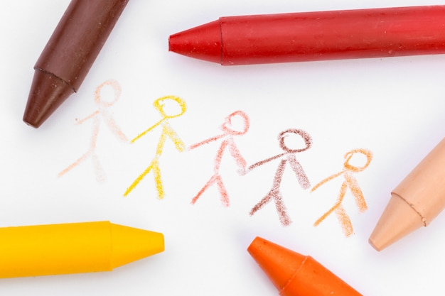 Children's drawing with colored wax pencils close up Premium Photo