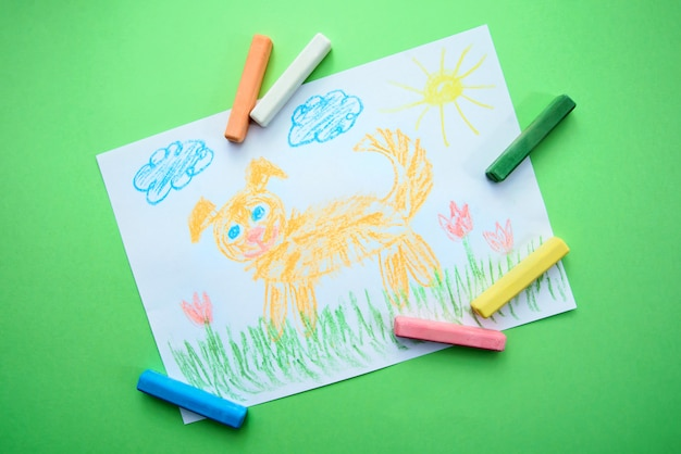 Children's drawing with a funny dog Premium Photo