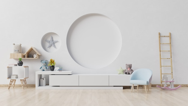 Children's room with easel armchair and cabinet Premium Photo