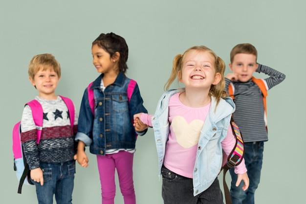 Children smiling happiness friendship togetherness Premium Photo
