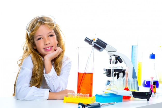Children student girl in kid chemical laboratory Premium Photo