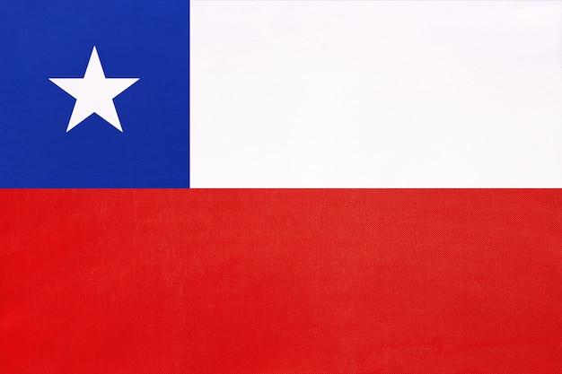 Чили национальный флаг ткани, символ международного мира страны южной америки. Premium Фотографии