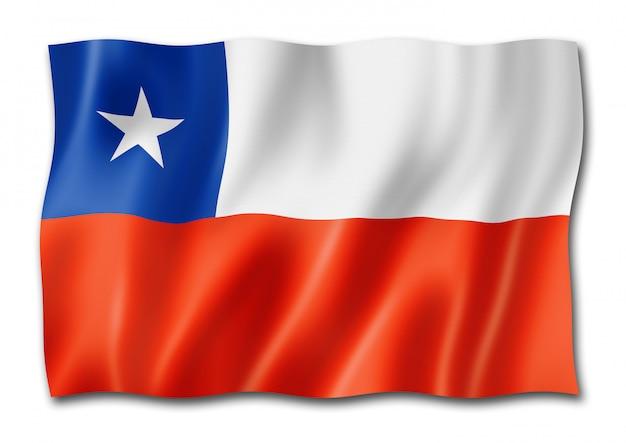 Чилийский флаг на белом Premium Фотографии