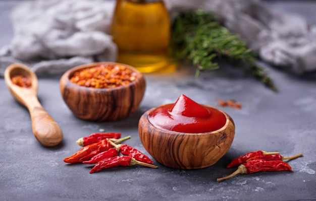 Chili sauce with dried peppers Premium Photo