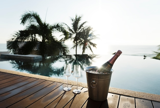 Chilled rose prosecco by the pool Premium Photo