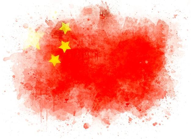 白い紙、水彩イラストの中国の旗 Premium写真