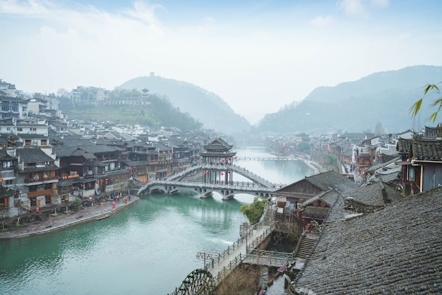 The china old town has rivers flowing through in the morning Premium Photo