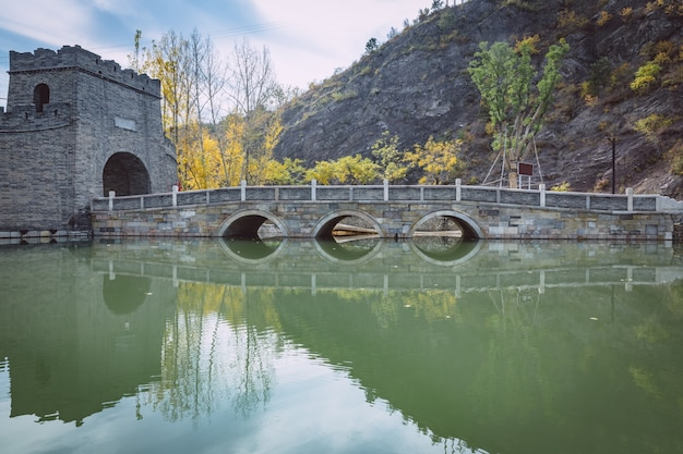 Chinese ancient stone arch bridges and stone carvings Premium Photo