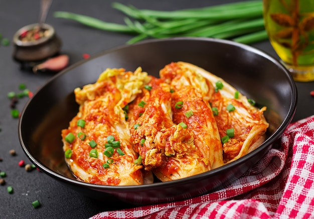 Chinese cabbage. kimchi cabbage. korean traditional food Premium Photo