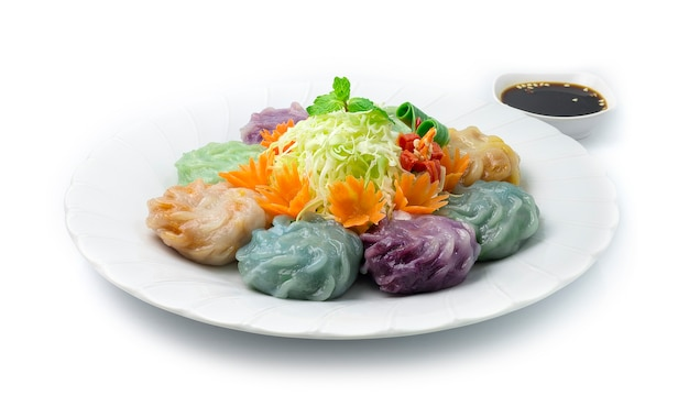 Chinese chives dumplings mixed color or garlic chives dim sum rice cake Premium Photo