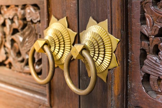 demo 24 - Chinese Door Handles, Close Up Of The Antique Oriental Door Knocker