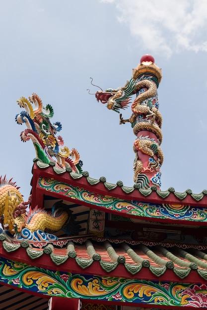 Chinese dragon in the shrine   Premium Photo