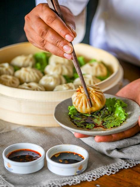 중국 만두 프리미엄 사진