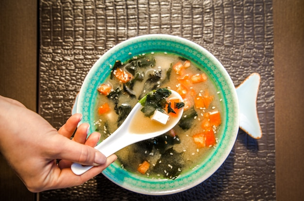 Chinese food soup in a beautiful bowl Free Photo