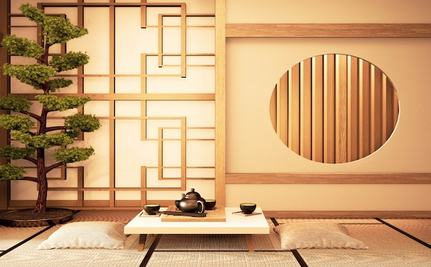 Chinese interior with circle window wooden design idea of room japan and tatami mat. 3d rendering Premium Photo